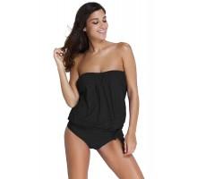 Angelsin Siyah Uzun Tankini Bikini Takım